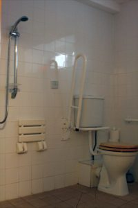 One bathroom is equipped for wheelchair users.
